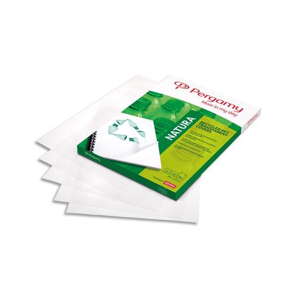 PERGAMY Boîte de 100 plats de couverture recyclés A4 200 microns
