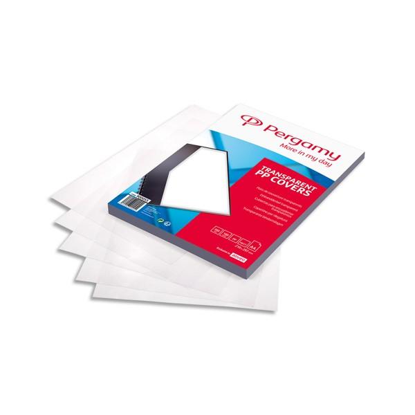 PERGAMY Boîte de 100 plats de couverture Mat en polypropylène A4 300 microns