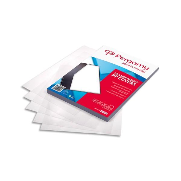 PERGAMY Boîte de 100 plats de couverture transparents en polypropylène A4 280 microns