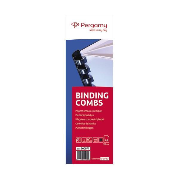 PERGAMY Boîte de 100 peignes anneaux plastiques 6 mm Noir