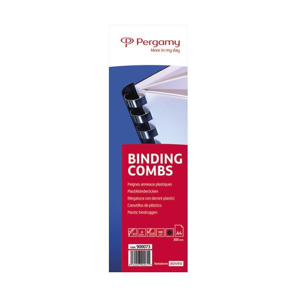 PERGAMY Boîte de 100 peignes anneaux plastiques 8 mm Noir