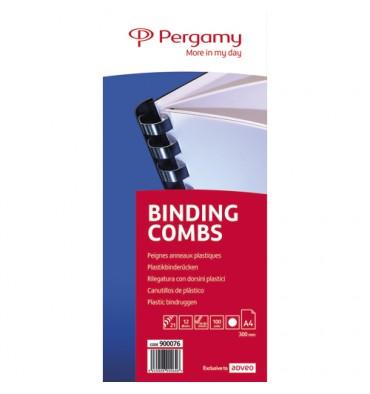 PERGAMY Boîte de 100 peignes anneaux plastiques 12 mm Blanc