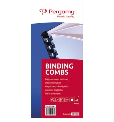 PERGAMY Boîte de 100 peignes anneaux plastiques 16 mm Blanc