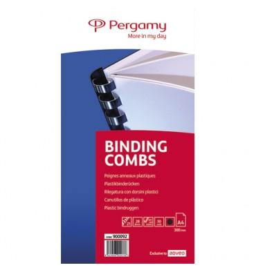 PERGAMY Boîte de 50 peignes anneaux plastiques 28 mm Noir