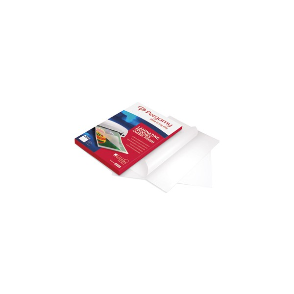 PERGAMY Boîte de 100 pochettes de plastification 2x125 microns A4 perforées