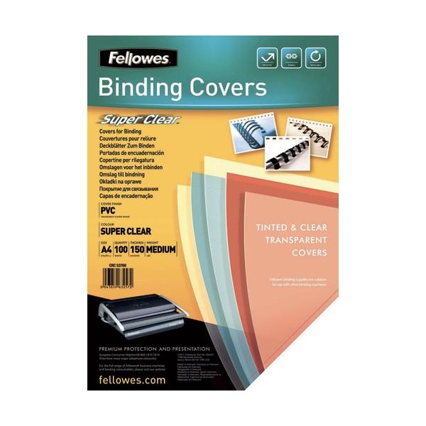 FELLOWES Boîte de 100 plats de couvertures transparent 30/100e incolore 300 microns