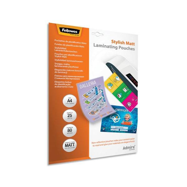 FELLOWES Pack de 25 pochettes A4 2x 80 microns finition Mate