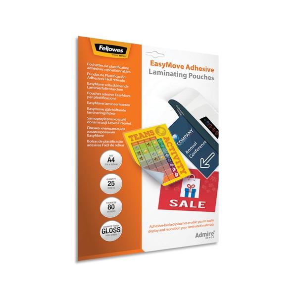 FELLOWES Pack de 25 pochettes de plastification A4 2x 80 microns adhésives repositionnabl