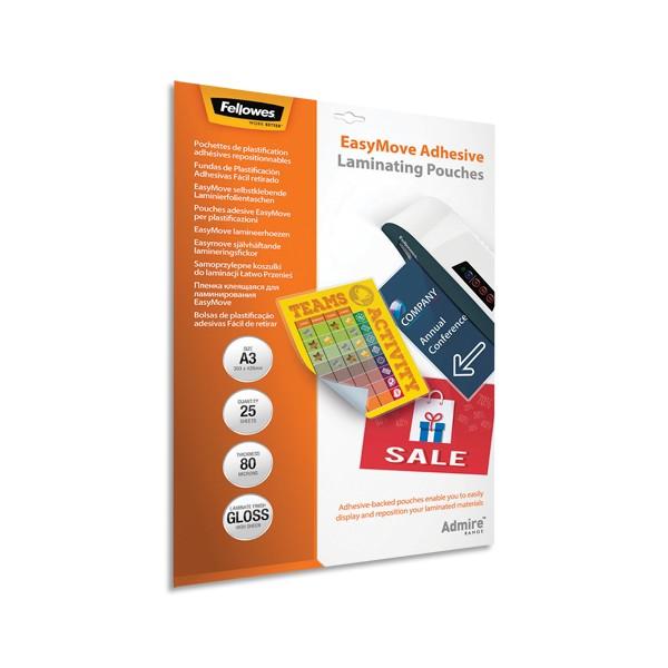 FELLOWES Pack de 25 pochettes de plastification A3 80 microns adhésives repositionnables