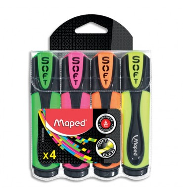 MAPED Pochette de 4 surligneurs FLUO'PEPS Ultrasoft coloris assortis
