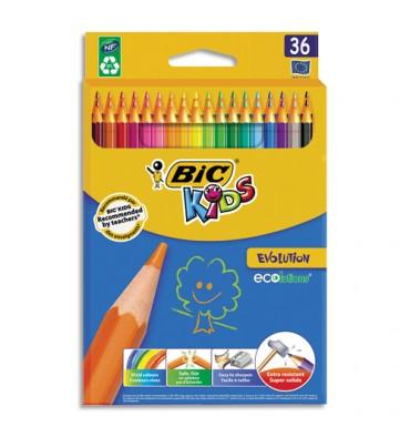 BIC Etui carton 36 crayons de couleur EVOLUTION. Longueur 17,5cm. Coloris assortis