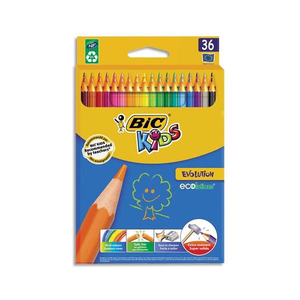 BIC Etui carton 36 crayons de couleur EVOLUTION. Longueur 17,5cm. Coloris assortis (photo)
