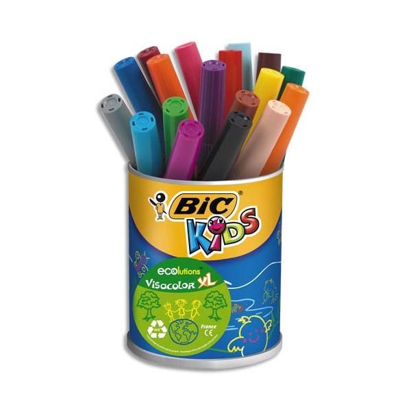 BIC Pot de 18 feutres Visacolor XL Ecolutions couleurs assorties (photo)