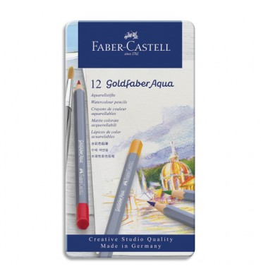 FABER CASTELL Etui de 12 crayons de couleur GOLDFABER aquarellables. Coloris assortis
