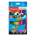 MAPED Boîte de 12 maxi crayons de couleur Color'Peps assortis, mine 4,7 mm