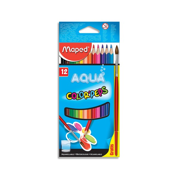 MAPED Etui de 12 Crayons de couleur aquarellables COLOR'PEPS avec 1 pinceau offert