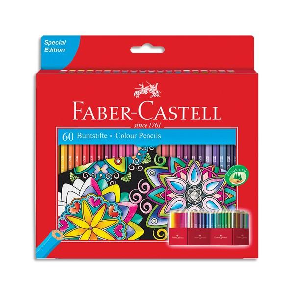 FABER CASTELL Etui 60 crayons de couleur CHÂTEAU. Coloris assortis