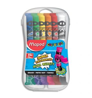 MAPED Boîte plastique de 12 tubes de gouache COLOR'PEPS