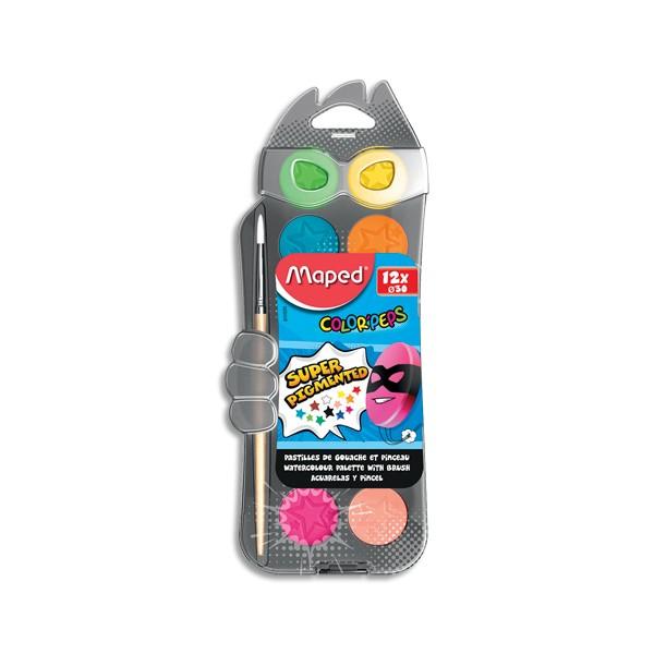 MAPED Boîte de 12 pastilles 30 mm de gouache ultra lavable COLOR'PEPS