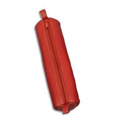 JUSCHA Trousse ronde en cuir 21 x 6 cm. Coloris rouge