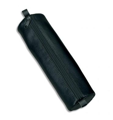 JUSCHA Trousse ronde en cuir 21 x 6 cm. Coloris noir
