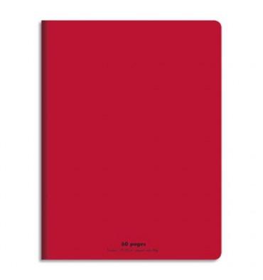 NEUTRE Cahier piqûre 17x22 60 pages grands carreaux 90g. Couverture polypro rouge