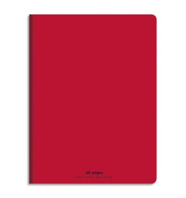 NEUTRE Cahier piqûre 17 x 22 cm 60 pages grands carreaux 90g. Couverture polypro rouge