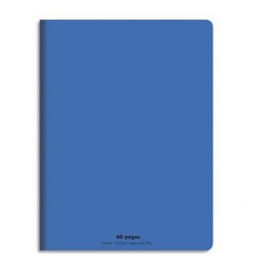 NEUTRE Cahier piqûre 17x22 cm 60 pages grands carreaux 90g. Couverture polypropylène bleu
