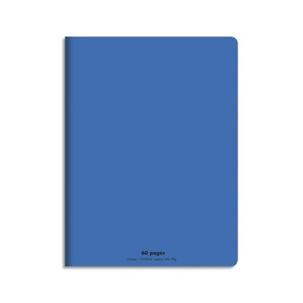 CONQUERANT Cahier piqûre 17x22cm 60 pages 90g, Séyès. Couverture polypropylène Bleu