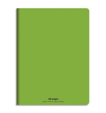 NEUTRE Cahier piqûre 17 x 22 cm 60 pages grands carreaux 90g. Couverture polypro vert