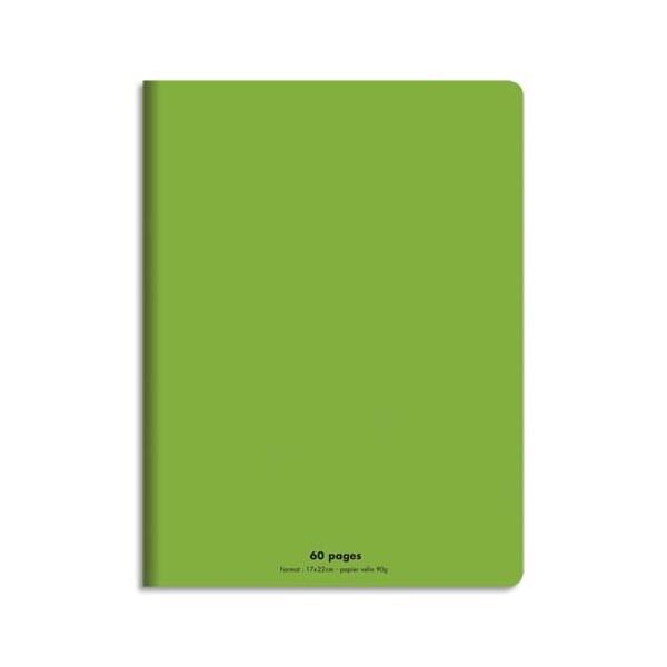 CONQUERANT Cahier piqûre 17x22cm 60 pages 90g, Séyès. Couverture polypropylène Vert