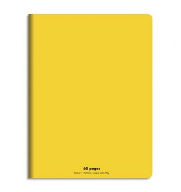 NEUTRE Cahier piqûre 17 x 22 cm 60 pages grands carreaux 90g. Couverture polypro jaune