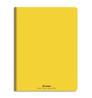 NEUTRE Cahier piqûre 17x22 60 pages grands carreaux 90g. Couverture polypro jaune