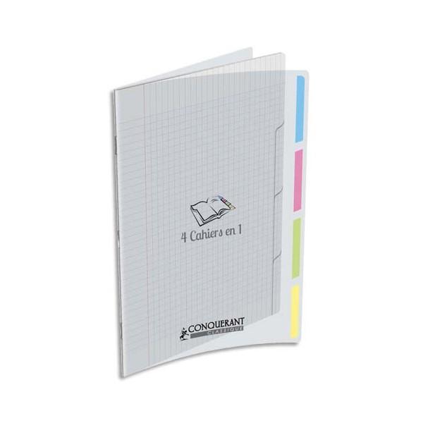 CONQUERANT CLASSIQUE Cahier 4en1agrafé 24 x 32 cm 140 seyès couverture polypropylène incolore