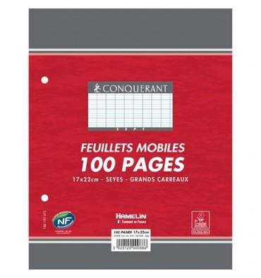 CONQUERANT BY HAMELIN Feuillets mobiles 17 x 22 cm 100p grands carreaux blancs papier 90g NF 88