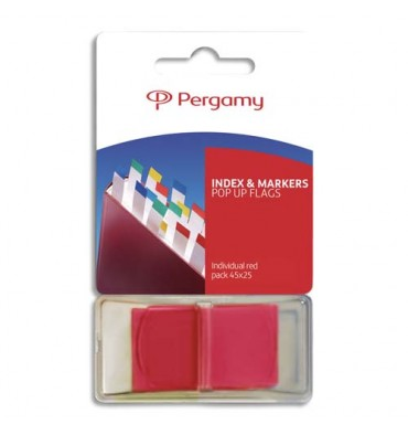 PERGAMY Set de 50 index marque-pages standard 2,5 x 4,3 cm. Coloris rouge