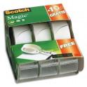 SCOTCH Lot de 2 + 1 rouleaux incolore Magic 810 avec dévidoirs
