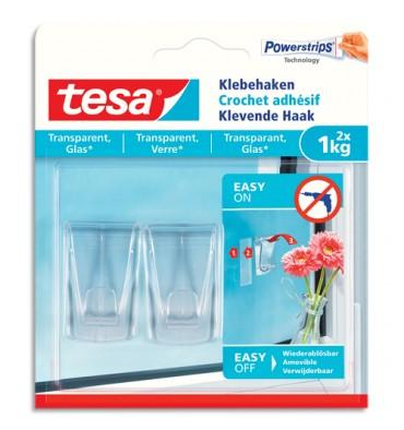TESA Boîte de 2 crochets adhésifs Powerstripes pour surfaces transparentes ou vitrées