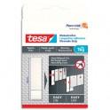 TESA Boîte de 6 Languettes adhésives blanches, papier peint et plâtre, charge 1kg