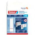 TESA Boîte de 6 Languettes adhésives blanches pour surfaces lisses, carrelage et métal, charge 3 kg