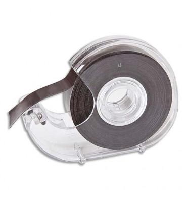 SAFETOOL Dévidoir transparent avec ruban noir à bande magnétique et adhésive 19 mm x 7 mètres