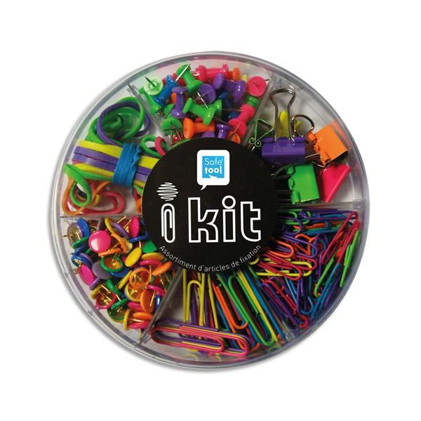 SAFETOOL Kit de petites fournitures assortis Fun : élastique, punaise, trombone, push pin