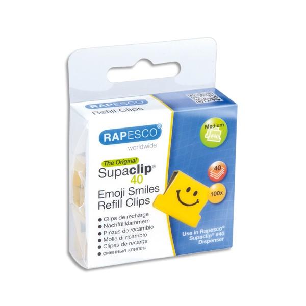 RAPESCO Boîte de 100 recharge Clips Emojis souriants jaune Supaclip en métal, capacité