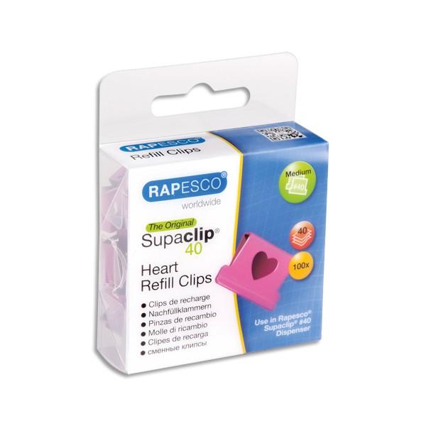RAPESCO Boîte de 100 recharge Clips Cœurs rose Supaclip en métal, capacité 40 feuilles