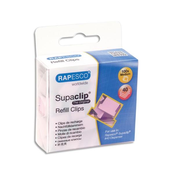 RAPESCO Boîte de 100 recharge Clips Rose poudré Supaclip en métal, capacité 40 feuille