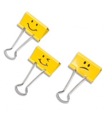 RAPESCO Lot de 20 Pinces à double Clips Emojis assortis Jaune Supaclip en métal