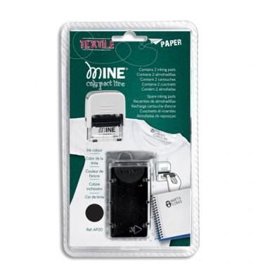 """COLOP Blister 2 recharges Noires spécial """"textile"""" pour tampon Printer C/20 MINE"""