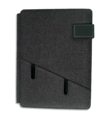 ALBA Conférencier gris tissu. 28x36x3cm. Livré avec bloc-notes, rangements multiples. Fermeture aimantée