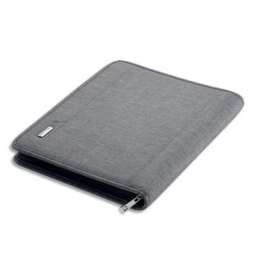JUSCHA Conférencier gris Lazio tissu. 36x28,5x5cm. Livré avec bloc-notes et mécanisme amovible 4 anneaux