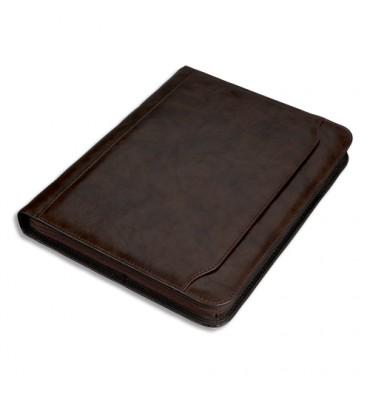 JUSCHA Conférencier Massa imitation cuir marron avec bloc quadrillé A4, mécanisme 4 anneaux et calculatrice